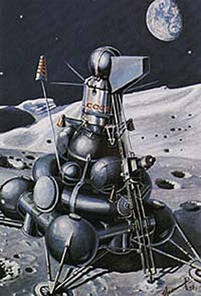 Artist's impression of Luna 23 on the Moon
