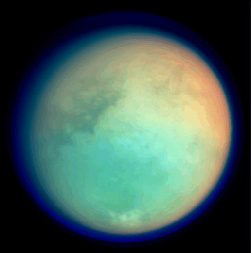 A photo of Titan from the Cassini probe
