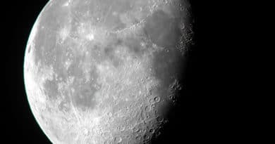 Moon showing dark lunar seas