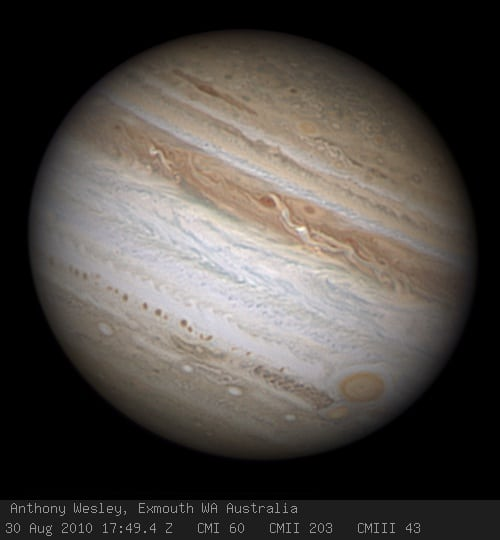 Jupiter imaged by Anthony Wesley on August 30