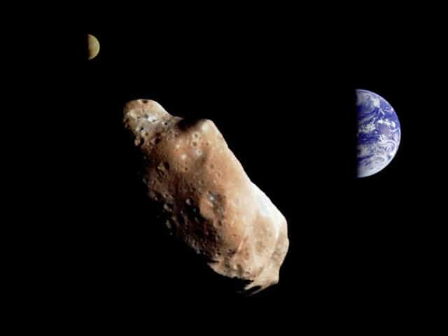 Impression of asteroid passing Earth