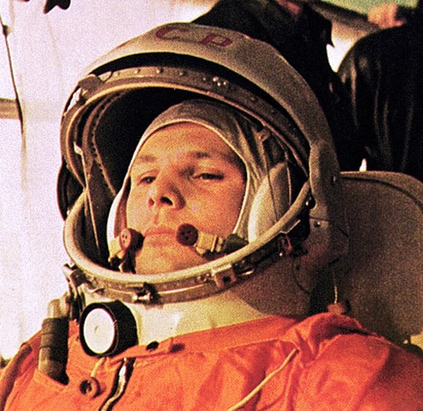 Yuri Gagarin on his way to launch