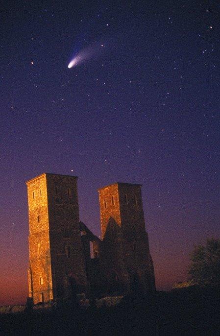 Comet Hale-Bopp in 1997 over Reculver, Kent