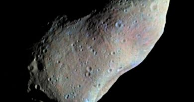 An asteroid called Gaspra, photographed by the Galileo spaceprobe in 1991. (NASA)