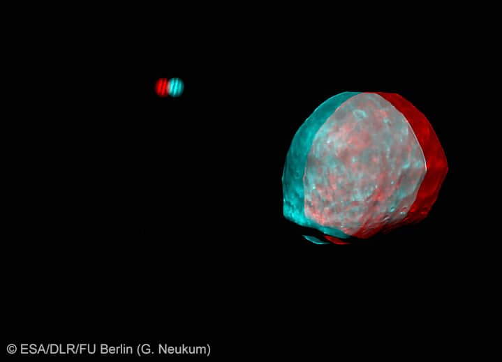 3D image of Phobos and Jupiter