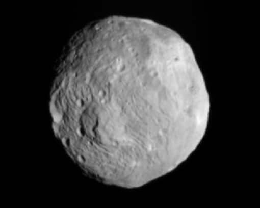 Vesta as seen by Dawn on 9 July 9, from a distance of about 41,000 km (26,000 miles)