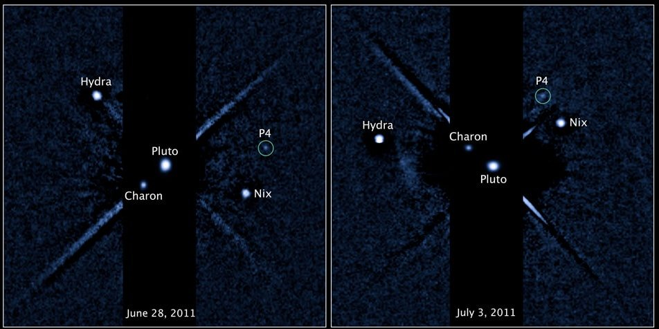 Hubble photos showing Pluto and its four moons