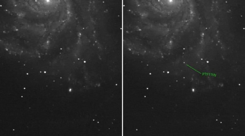 Before and after images reveal the supernova (Peter Nugent/Palomar Transient Factory )