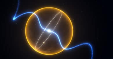 Radio pulses emanate from the pulsar as the diamond planet orbits it. The entire binary would fit inside our own Sun.