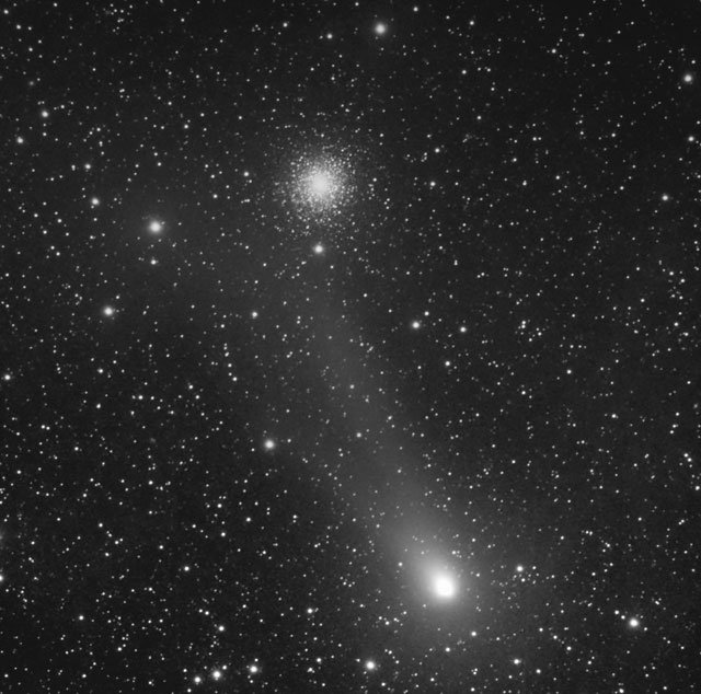 The comet and M13 pictured by Nick Howes