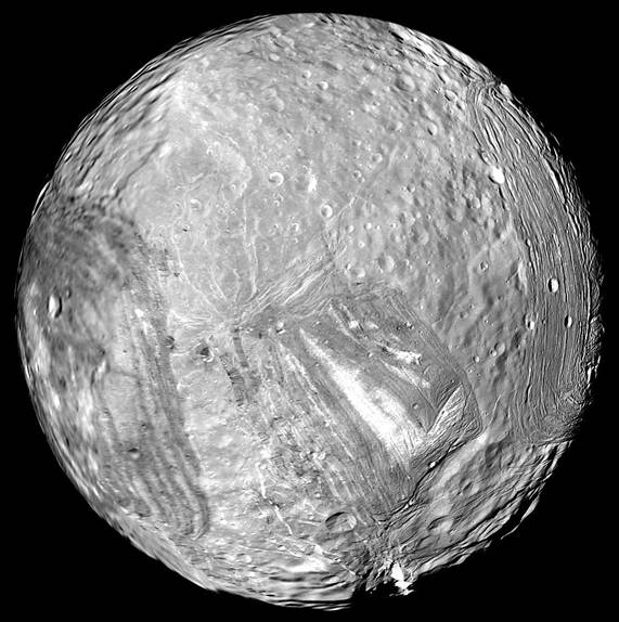 Miranda imaged by Voyager 2 in 1986