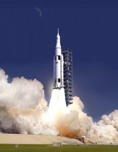 Artist's impression of the SLS rocket launching