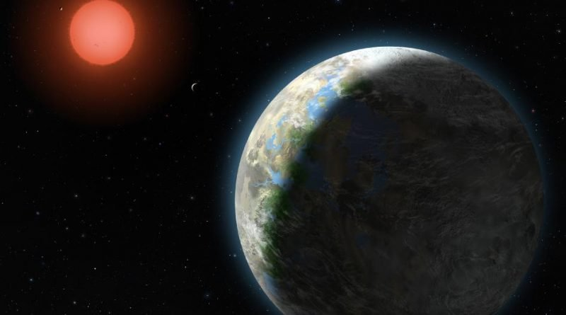 Artist's impression of a planet orbiting an M dwarf star. (Image: Lynette Cook)