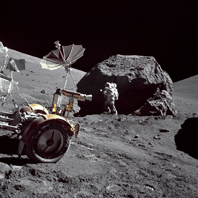 Harrison Schmitt gathers rock samples on Apollo 17 mission