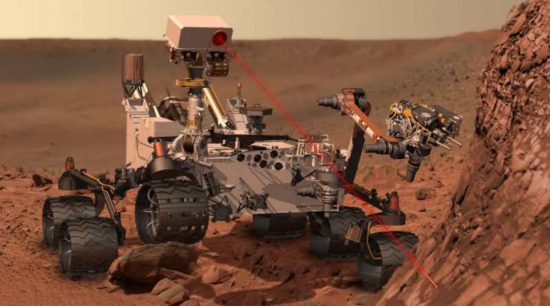 Curiosity zaps a rock with its laser in this artist's impression