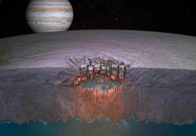 Artist's impression of Europa's underground lake