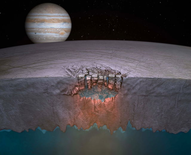 Artist's impression of Europa's underground lake