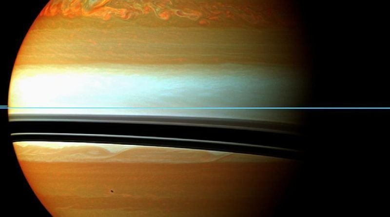 A false-colour mosaic from NASAs Cassini spacecraft illustrating the tail of Saturns gigantic storm. Image: NASA/JPL-Caltech/Space Science Institute.