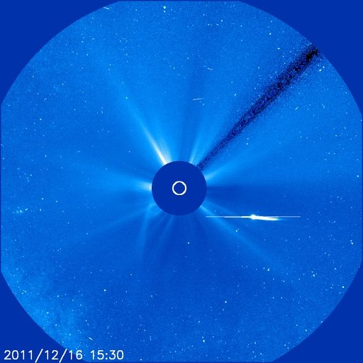 Comet Lovejoy caught by SOHO's Lasco 3 camera (NASA)