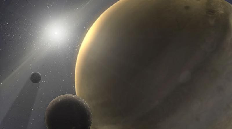 Rocky moons orbit a gas giant