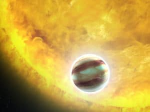 Impression of a hot Jupiter orbiting another star