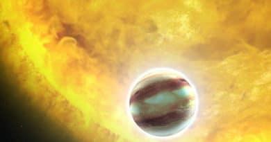 Impression of a hot Jupiter orbiting another star