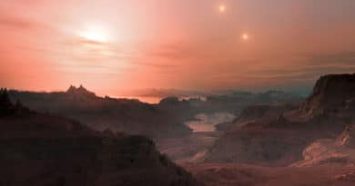 Artist's impression of sunset from super-Earth orbiting a red dwarf