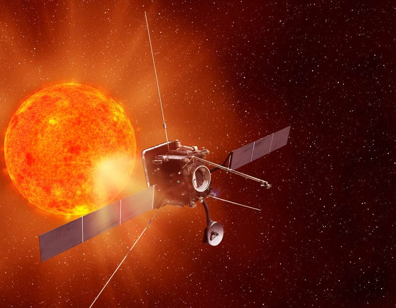 An artist's impression of Solar Orbiter studying the Sun