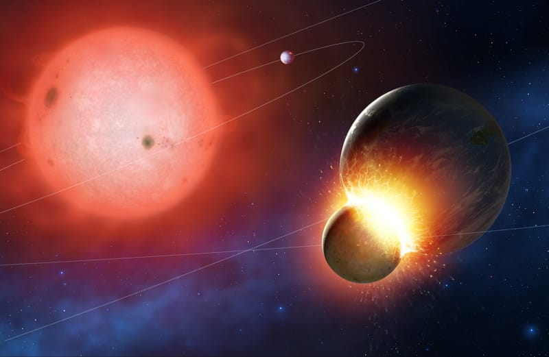 Planets collide as the star swells up perturbing their orbits