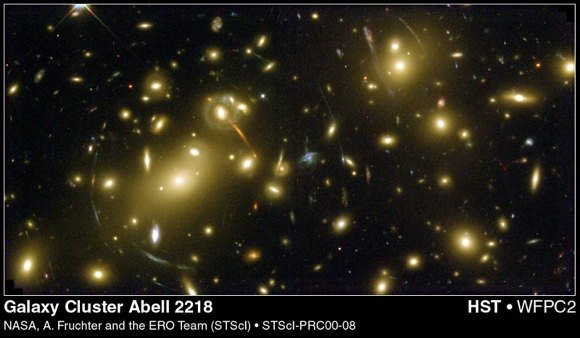 A galaxy cluster that is much closer to Earth displays many stretched images of background galaxies.