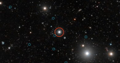 Dark galaxies ringed in blue surround the red-ringed quasar