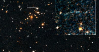 The gravitational arc in distant galaxy cluster IDCS J1426.5+3508 shouldn't exist.