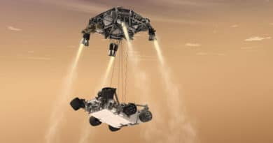 An artist's impression of Skycrane lowering Curiosity onto Mars