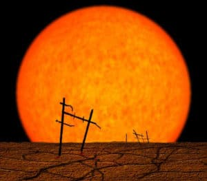 Popular image of a red giant, viewed from a planet