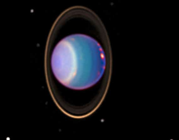 Uranus and its main moons imaged by the Hubble space telescope