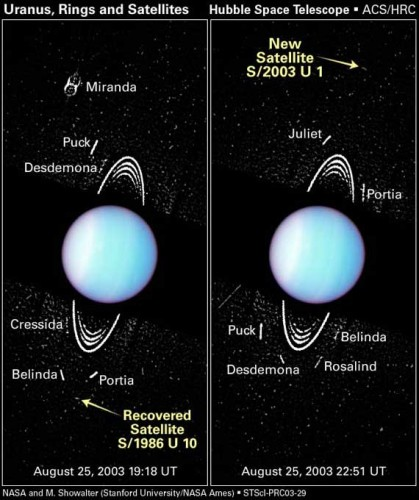 Annotated image of Uranus and moons from Hubble.