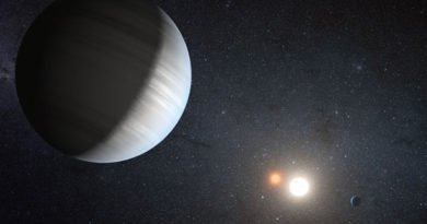 An artist imagines how the Kepler-47 planetary system might look