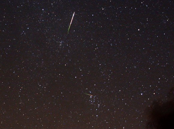 Two Perseids are visible in this photo taken in 2010. Credit: Robin Scagell, Galaxy Picture Library