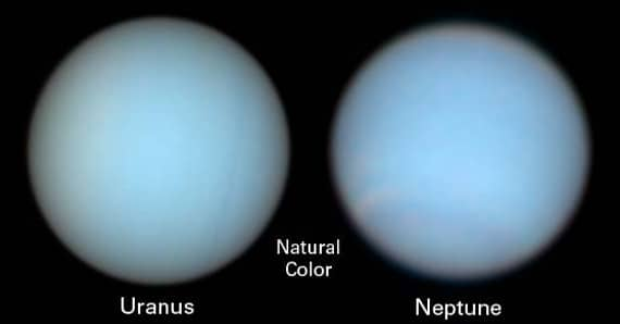 Images of Uranus and Neptune taken in natural light by the Hubble Space Telescope.