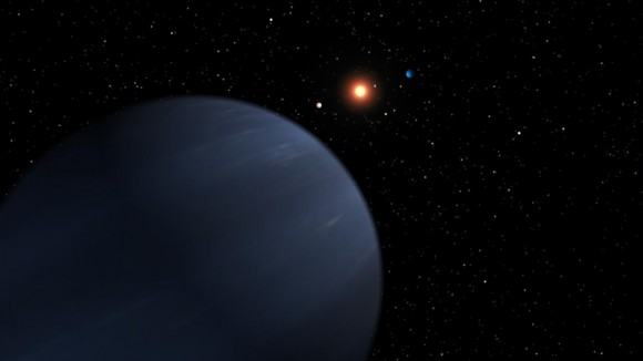 An artist's impression of the 55 Cancri planetary system. Credit: NASA/JPL-Caltech