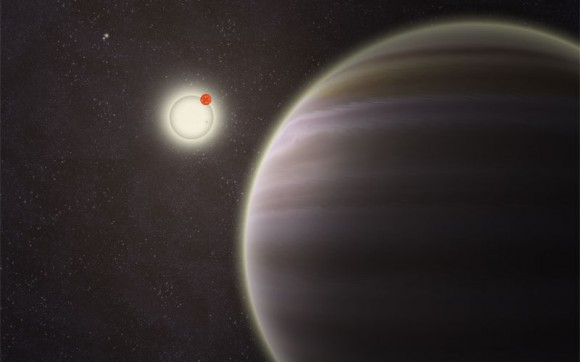 An artist's illustration of PH1, a planet discovered by volunteers from the Planet Hunters citizen science project. PH1, shown in the foreground, is a circumbinary planet and orbits two suns. Image Credit: Haven Giguere/Yale