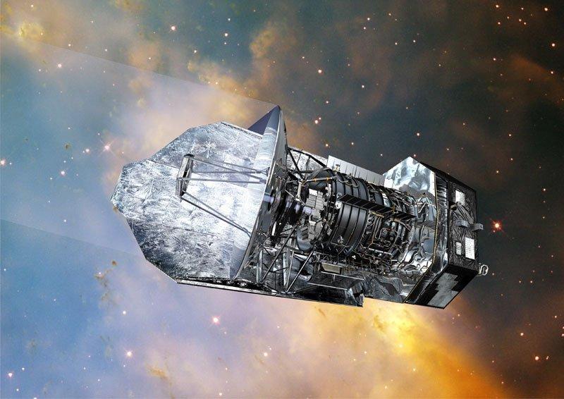 An artist's impression of Herschel observing deep in space