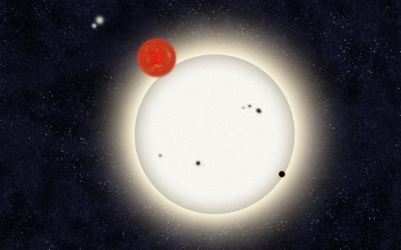 The newly discovered planet is depicted in this artist's rendition transiting the larger of the two eclipsing stars it orbits. Off in the distance, well beyond the planet orbit, resides a second pair of stars bound to the planetary system. Image Credit: Haven Giguere/Yale.