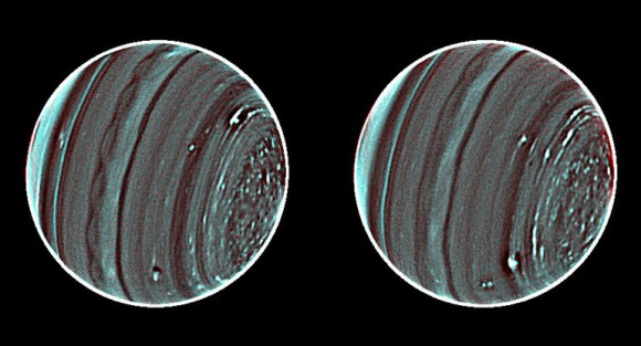 A pair of images of Uranus from the Keck II telescope, with the north pole to their right, reveal new details about the planet's enigmatic atmosphere