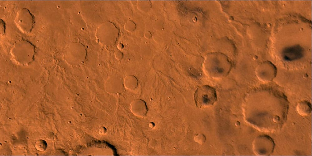 Heavily cratered martian highlands