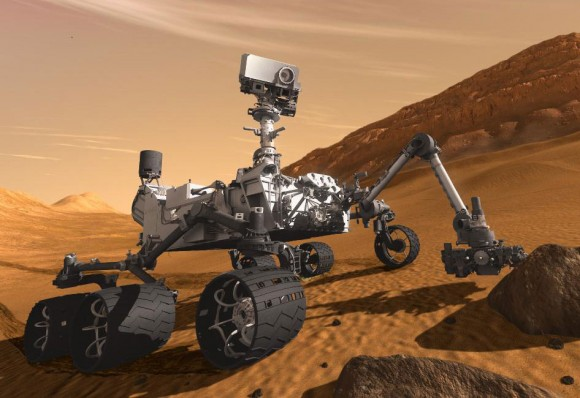 An artist's impression of Curiosity taking samples on Mars