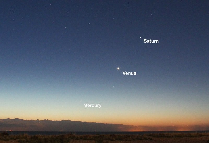 Mercury, Venus and Saturn photographed from Walmer, UK.