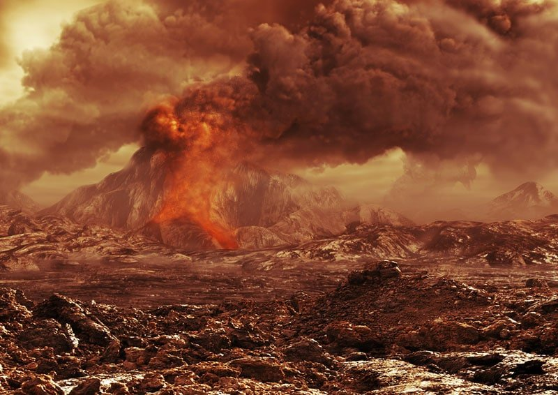 An artist's view of an active volcano raging on Venus