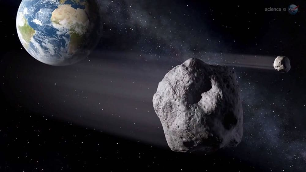 An artists's impression of an asteroid like 2012 DA14 making a close pass of the Earth