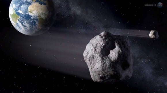 An artists's impression of an asteroid like 201 LR6 making a close pass of the Earth